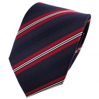Seidenkrawatte dunkelblau marine rot schwarz silber gestreift - Krawatte Seide