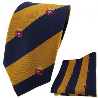 TigerTie Designer Krawatte + Einstecktuch gold dunkelblau gestreift mit Wappen