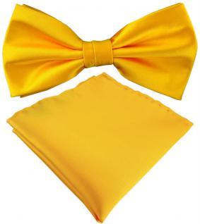 TigerTie Satin Fliege + Einstecktuch in gelb Uni einfarbig + Geschenkbox