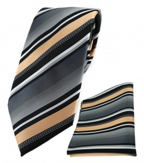 TigerTie Krawatte + Einstecktuch in lachs silber grau weiss schwarz gestreift