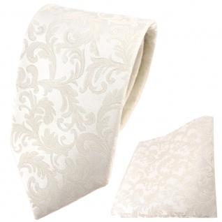 Hochzeit Seidenkrawatte + Einstecktuch creme Rankenmuster Uni - 100% Seide