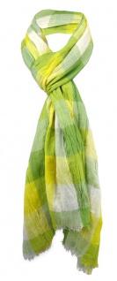 gecrashter Schal in grün gelb weiß kariert mit kleinen Fransen - Gr. 180 x 50 cm