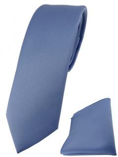 schmale TigerTie Designer Krawatte + Einstecktuch in pastellblau einfarbig uni
