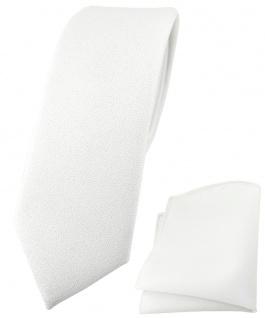 schmale TigerTie Krawatte + Einstecktuch schneeweiss mit aufgerauhter Oberfläche