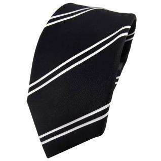 Enrico Sarto Seidenkrawatte schwarz weiß gestreift - Krawatte Seide Tie