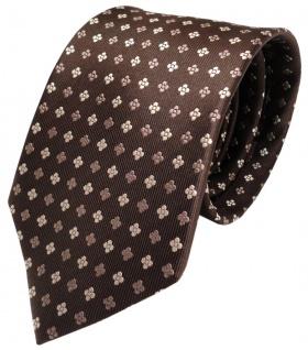 Krawatte Seide braun dunkelbraun silber Blumenmuster Tie Silk