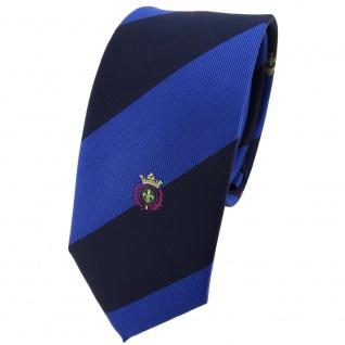 Schmale TigerTie Krawatte blau saphirblau dunkelblau gestreift Wappen - Tie Binder