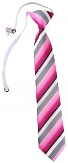 TigerTie Security Sicherheits Krawatte in rosa pink grau weiss gestreift