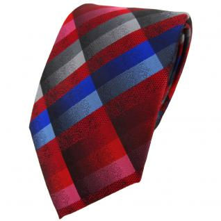 TigerTie Designer Krawatte in rot blau rosa anthrazit silber grau kariert