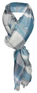 Halstuch in petrol türkis grau silber kariert mit kleinen Fransen - 110 x 110 cm