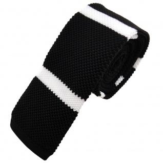 Schmale Strickkrawatte schwarz weiß gestreift - Krawatte Polyester Tie