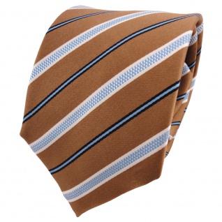 TigerTie Seidenkrawatte gold goldbraun blau weiß gestreift - Krawatte Tie Seide