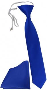 TigerTie Kinderkrawatte + Einstecktuch dunkelblau Uni - vorgebunden mit Gummizug