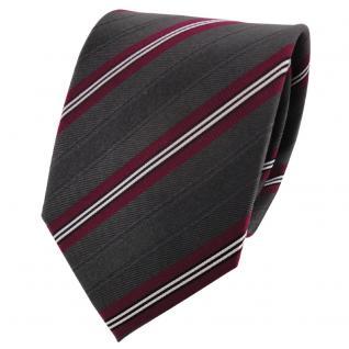 Seidenkrawatte anthrazit rot weinrot weiß schwarz gestreift - Krawatte Seide
