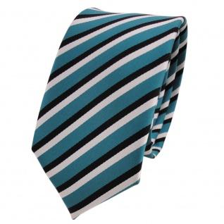 Schmale TigerTie Designer Krawatte türkis schwarz weiß gestreift - Binder Tie