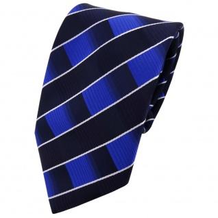 Microfaser Krawatte blau dunkelblau silber gestreift - Binder Mikrofaser Tie