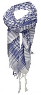 Halstuch in blau grau kariert mit Fransen an zwei Seiten - Gr. 100 x 100 cm