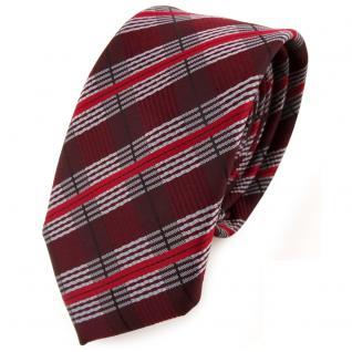 Schmale TigerTie Krawatte rot weinrot silber schwarz gestreift - Schlips Binder