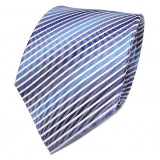 TigerTie Designer Seidenkrawatte blau himmelblau weiß gestreift - Krawatte Seide