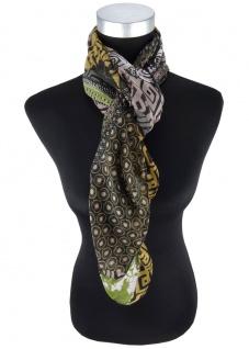 Halstuch in camel braun grün grau schwarz gemustert - Gr 100 x 100 cm