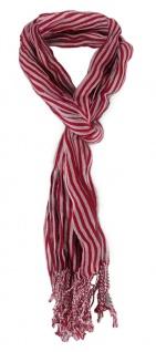 Schal in weinrot silber gestreift mit Fransen - 180 cm x 50 cm - Tuch Baumwolle
