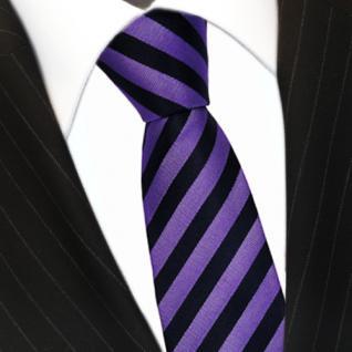 schöne gewebte Seidenkrawatte in lila schwarz gestreift - Krawatte 100% Seide