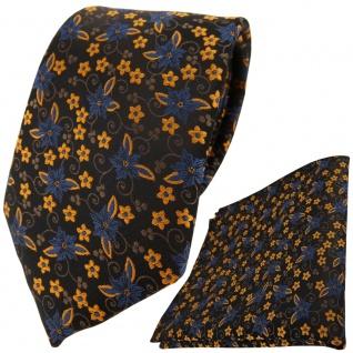 schöne TigerTie Krawatte + Einstecktuch braun dunkelbraun bronze blau geblümt