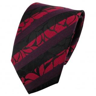 TigerTie Satin Seidenkrawatte rot bordeaux schwarz gestreift - Krawatte Seide