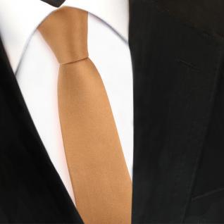 Schmale TigerTie Designer Satin Seidenkrawatte gold Uni - Krawatte Seide Silk - Vorschau 3