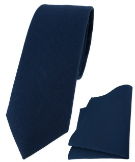 schmale TigerTie Krawatte + Einstecktuch aus 100% Baumwolle in marine einfarbig