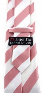 TigerTie Designer Krawatte in rosa weiss gestreift - Vorschau 3