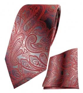 TigerTie Seidenkrawatte + Einstecktuch in rot verkehrsrot grau silber Paisley
