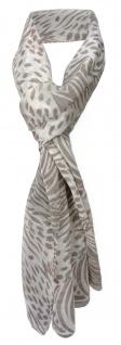 TigerTie Viskose Schal in grau creme weiß gemustert - Gr. 180 x 50 cm - Halstuch