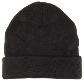 Wollmütze schwarz Stich braun Uni - Damen Mütze Gr. M - Wintermütze Strickmütze