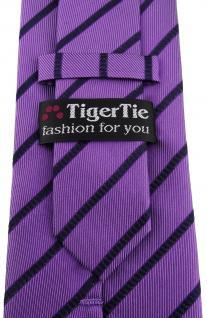 TigerTie Designer Seidenkrawatte lila violett blau gestreift - 100% Seide - Vorschau 3