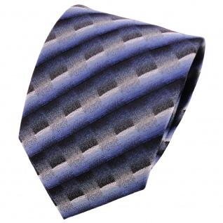 schöne Krawatte in dunkelblau grau silber anthrazit gestreift - Krawatte Binder