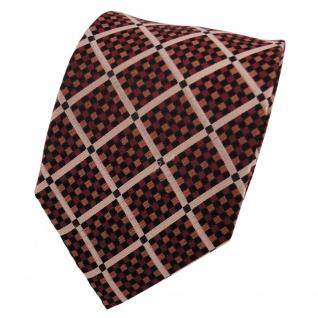 TigerTie Designer Seidenkrawatte braun kupfer schwarz kariert - Krawatte Seide