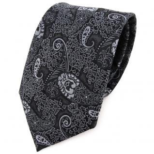 TigerTie Krawatte in anthrazit schwarz grau silber Paisley gemustert - Binder