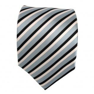 Designer Krawatte - Schlips Binder blau graublau schwarz weiss gestreift - Tie - Vorschau 2