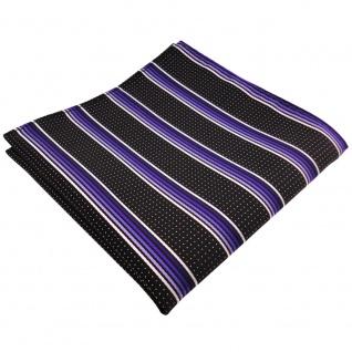 schönes Einstecktuch lila flieder silberweiss schwarz gestreift - Tuch Polyester