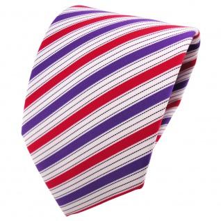schöne TigerTie Designer Krawatte lila rot schwarz silberweiß gestreift - Binder