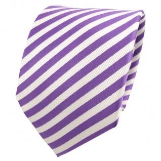 TigerTie Designer Seidenkrawatte lila perlviolett weiß gestreift- Krawatte Seide