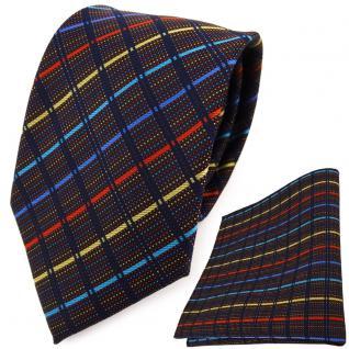 TigerTie Designer Krawatte + Einstecktuch blau gold türkis rot schwarz gestreift