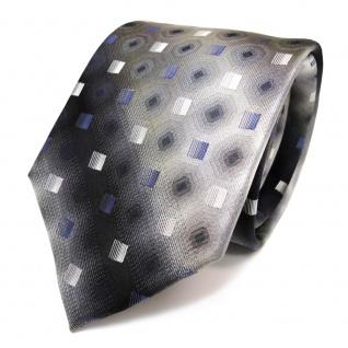 TigerTie Seidenkrawatte blau anthrazit grau silber schwarz gemustert - Krawatte