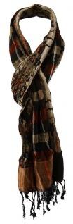 TigerTie Schal in braun rot grau silber schwarz beige gemustert mit Fransen