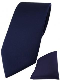 TigerTie Designer Krawatte + TigerTie Einstecktuch in marine einfarbig uni