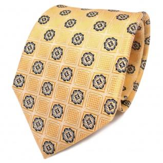 TigerTie Designer Seidenkrawatte gold goldgelb schwarz gemustert- Krawatte Seide