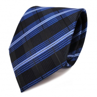 TigerTie Krawatte blau kobalt hellblau schwarz gestreift - Schlips Binder Tie