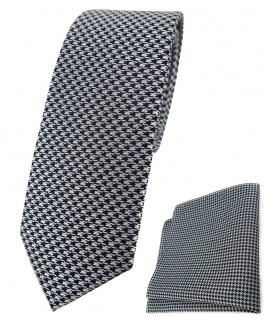 schmale TigerTie Krawatte + Einstecktuch in silber schwarz Houndstooth gemustert
