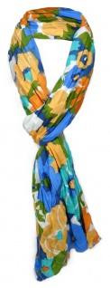 gecrashter Schal in blau orange lachs grün türkis weiß geblümt - Gr. 180 x 50 cm